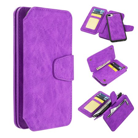 Luxury Coach Series Leather Wallet with Detachable Magnetic Case for iPhone 8 Plus / 7 Plus / 6S Plus / 6 Plus - Purple