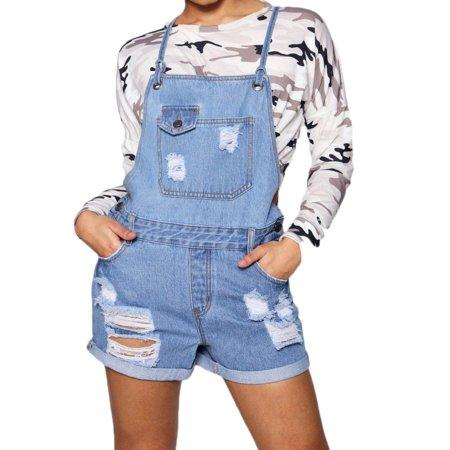 42acc9f0fe6 Follo Clothing - FOllO Women s Denim Jeans Ripped Jumpsuit Overalls Romper  With Shorts Blue - Walmart.com