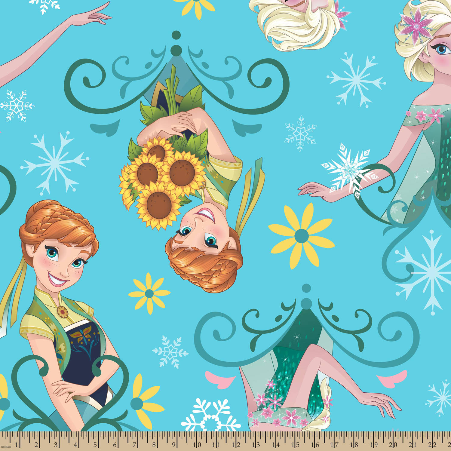 "Disney Sisters Frozen Fever Sunflowers Framed, Fleece, Aqua, 59/60"" Width, Fabric by the Yard"