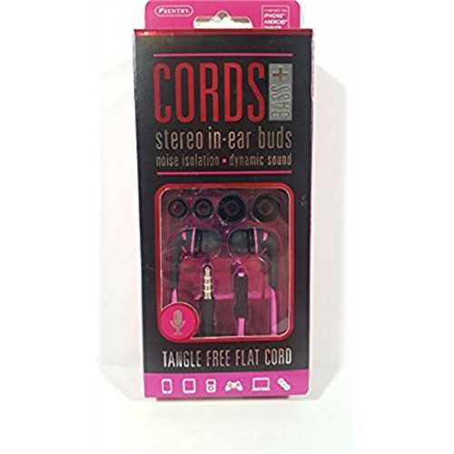 Sentry Cords Bass+ Stereo In-Ear Buds Earbuds Headphones Pink