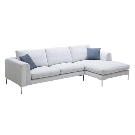 J M Bianca Modern Premium White Fabric Sectional Sofa Left Hand Facing Chaise O