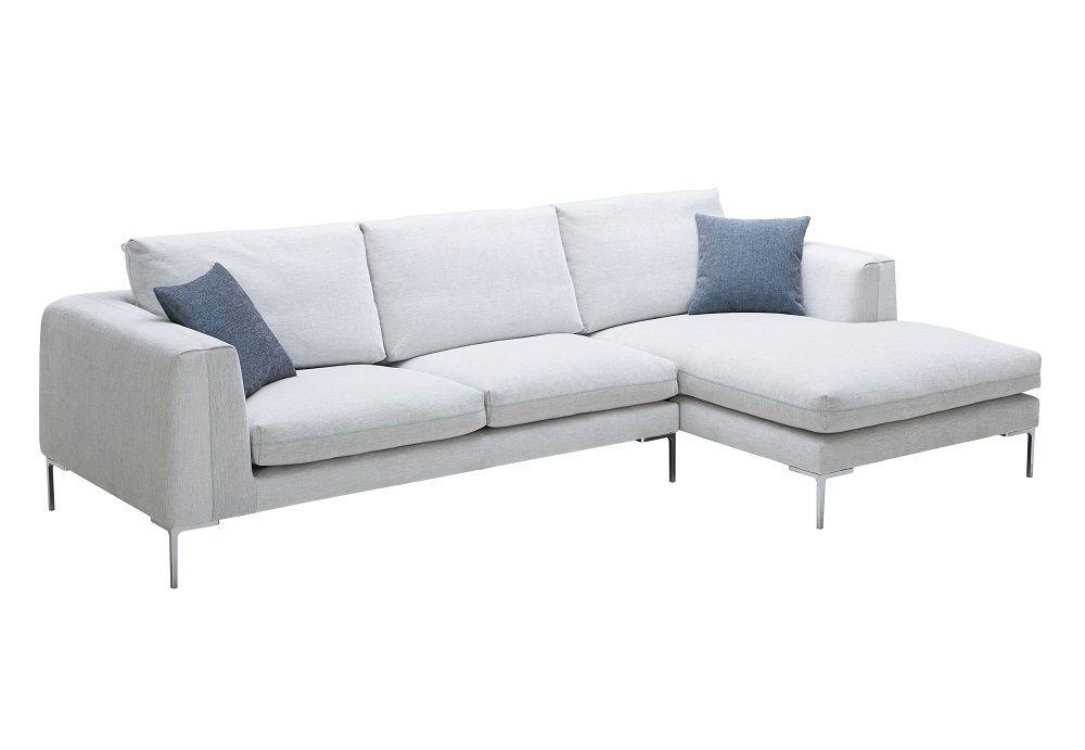 Superbe Ju0026M Bianca Modern Premium White Fabric Sectional Sofa (Left Hand Facing  Chaise O