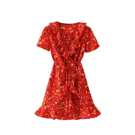 Ruffle Neck Wrap - Babula Women V Neck Ruffled Floral Wrap Laces Mini Dress