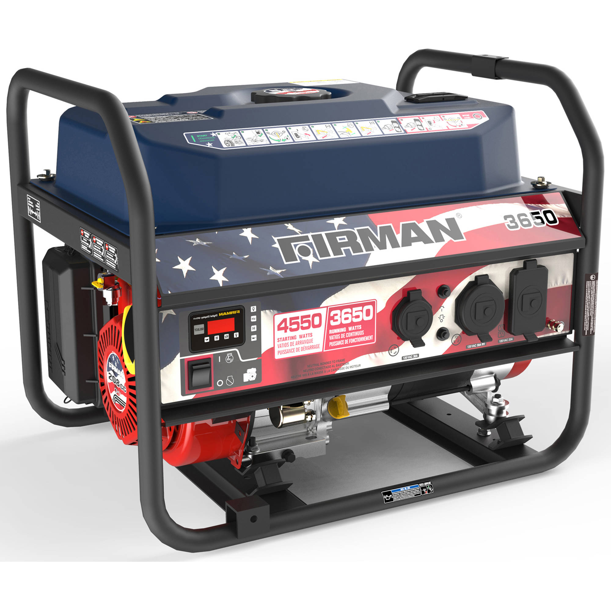 Firman Power Equipment P03611 Gas Powered 3650/4550 Watt (Performance Series) Extended Run Time Portable Generator, Red, White and Blue Edition