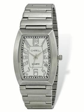 343d15ce8cdfc7 Product Image Lex   Lu Chisel Men s Stainless Steel White Tonneau Dial Watch  ...