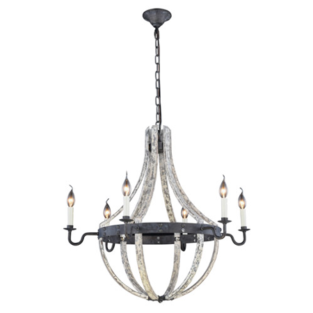 - Pendants Porch 6 Light With Urban Classic Ivory Wash and Steel Grey size 31 in 240 Watts - World of Classic