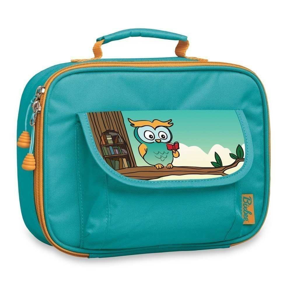 Bixbee Boys Girls Teal Owl Insulated Flap Pocket Lunch Box