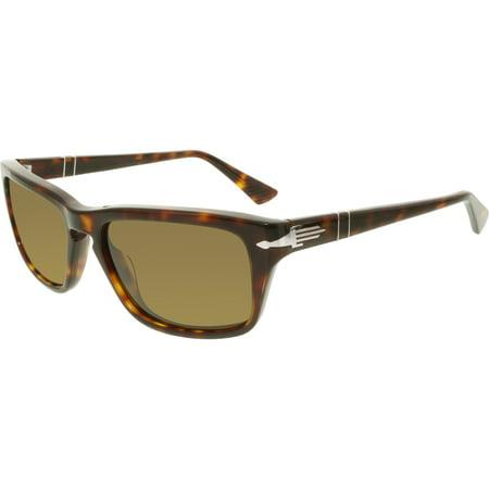 Persol Women's Polarized PO3074S-24/57-55 Brown Rectangle Sunglasses