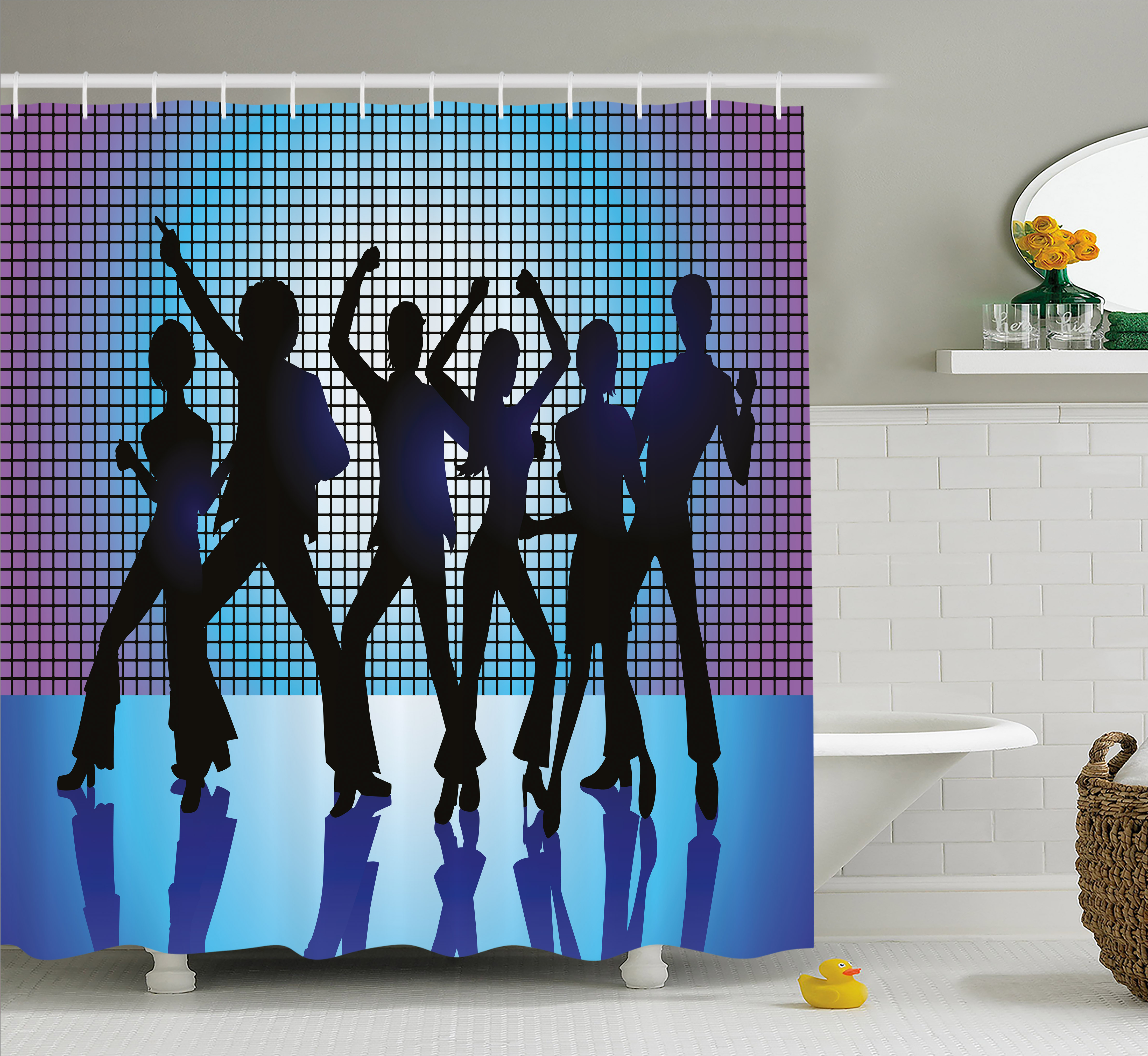 70s Party Decorations Shower Curtain, Silhouettes of Coup...