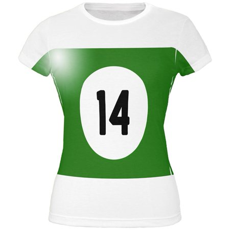 Halloween Billiard Pool Ball Fourteen Costume Juniors T Shirt - Pool Halloween