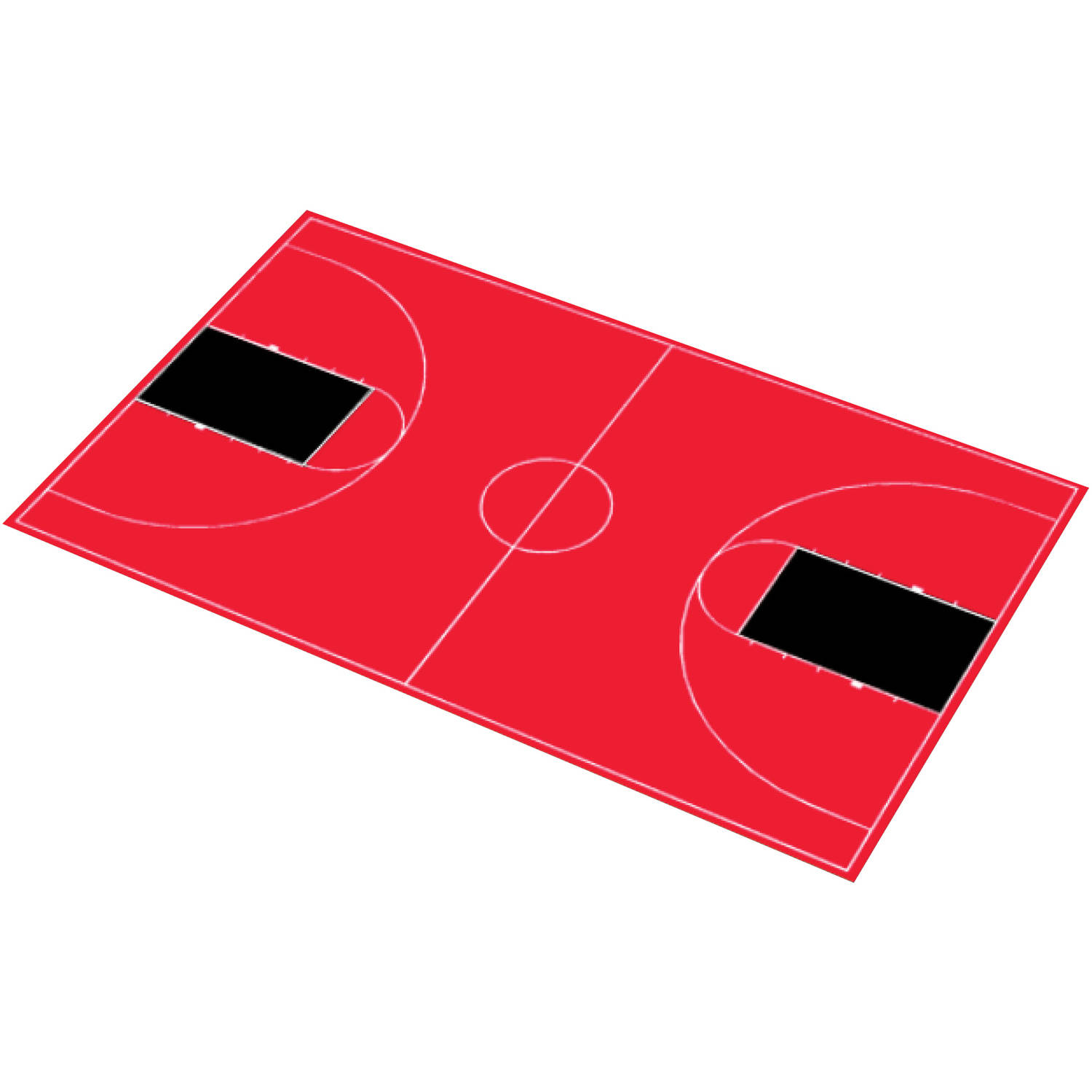 """DuraPlay Full Court Basketball Kit, 51' x 83'11"""", Red and Black"""