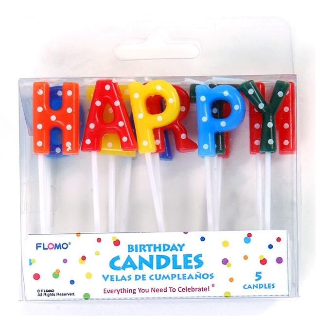 Eros F01-PTC135 Happy Birthday Letter Pick Candles - Pack...