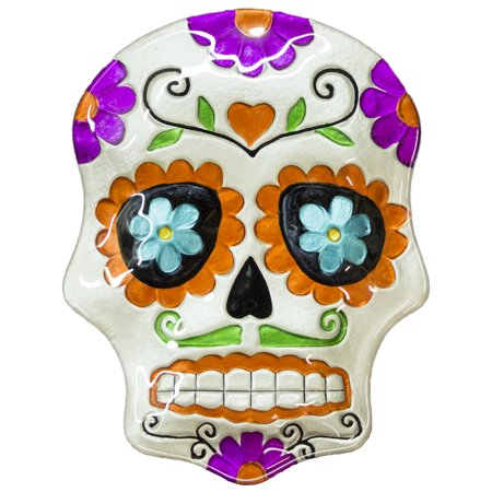 Halloween Decor - 10 Inch Day Of The Dead Sugar Skull Ceramic Serving