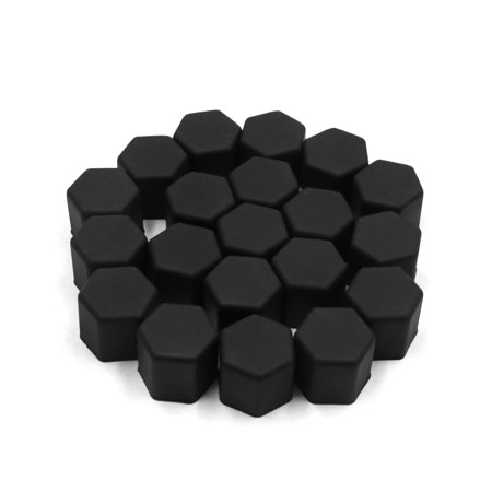 - 20 Pcs 19mm Black Silicone Car Vehicle Wheel Tyre Hub Screw Bolt Nut Cap Covers