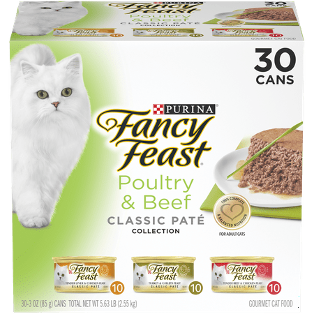 (30 Pack) Fancy Feast Grain Free Pate Wet Cat Food Variety Pack, Poultry & Beef Collection, 3 oz.