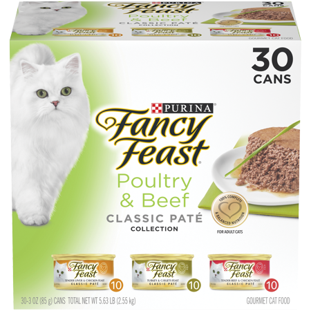 Fancy Feast Classic Pate Poultry & Beef Collection Wet Cat Food Variety Pack - (30) 3 oz. Cans
