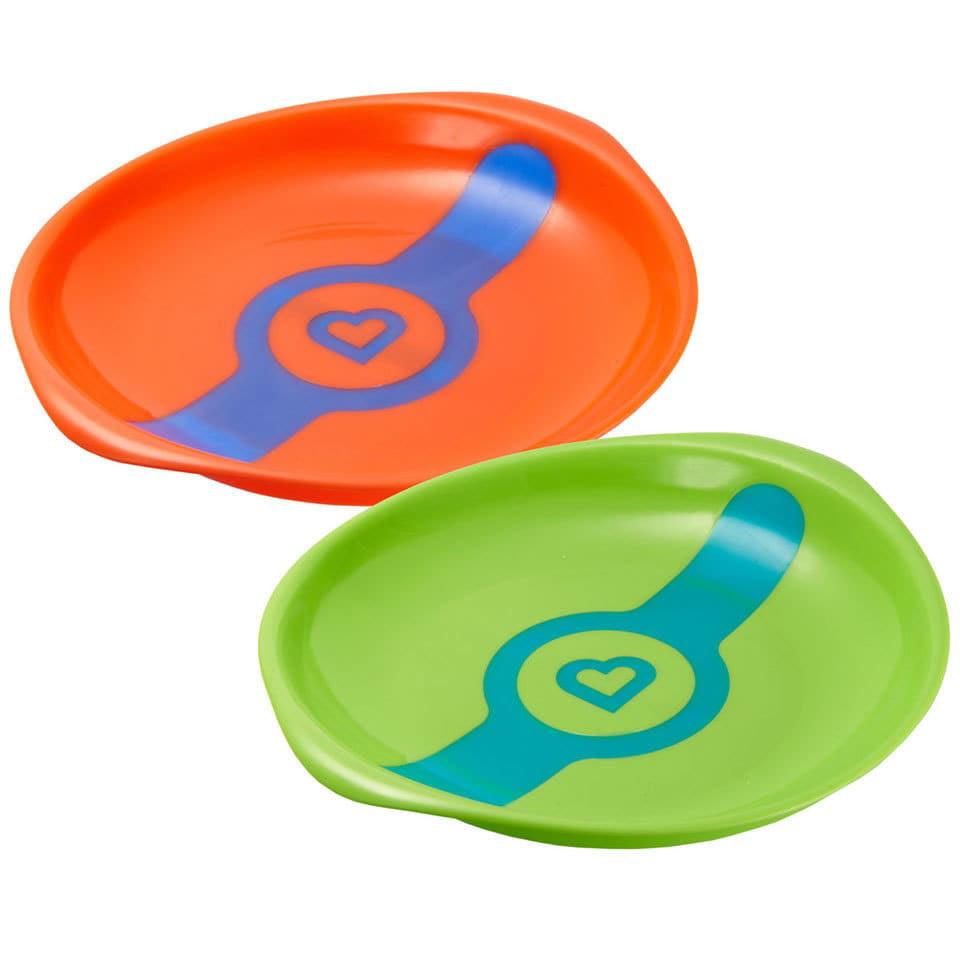 Munchkin Orange Green White Hot Feeding Plates (Set of 2) by Overstock