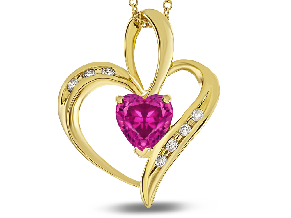 Star K Heart Shape 6mm Simulated Pink Tourmaline Pendant Necklace in 10 kt Yellow Gold by