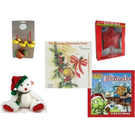 Christmas Fun Gift Bundle [5 Piece] - Martha Stewart Woodland  Set of 4 Duck Ornaments - Deck The Halls Red Star Tree Topper 11.5