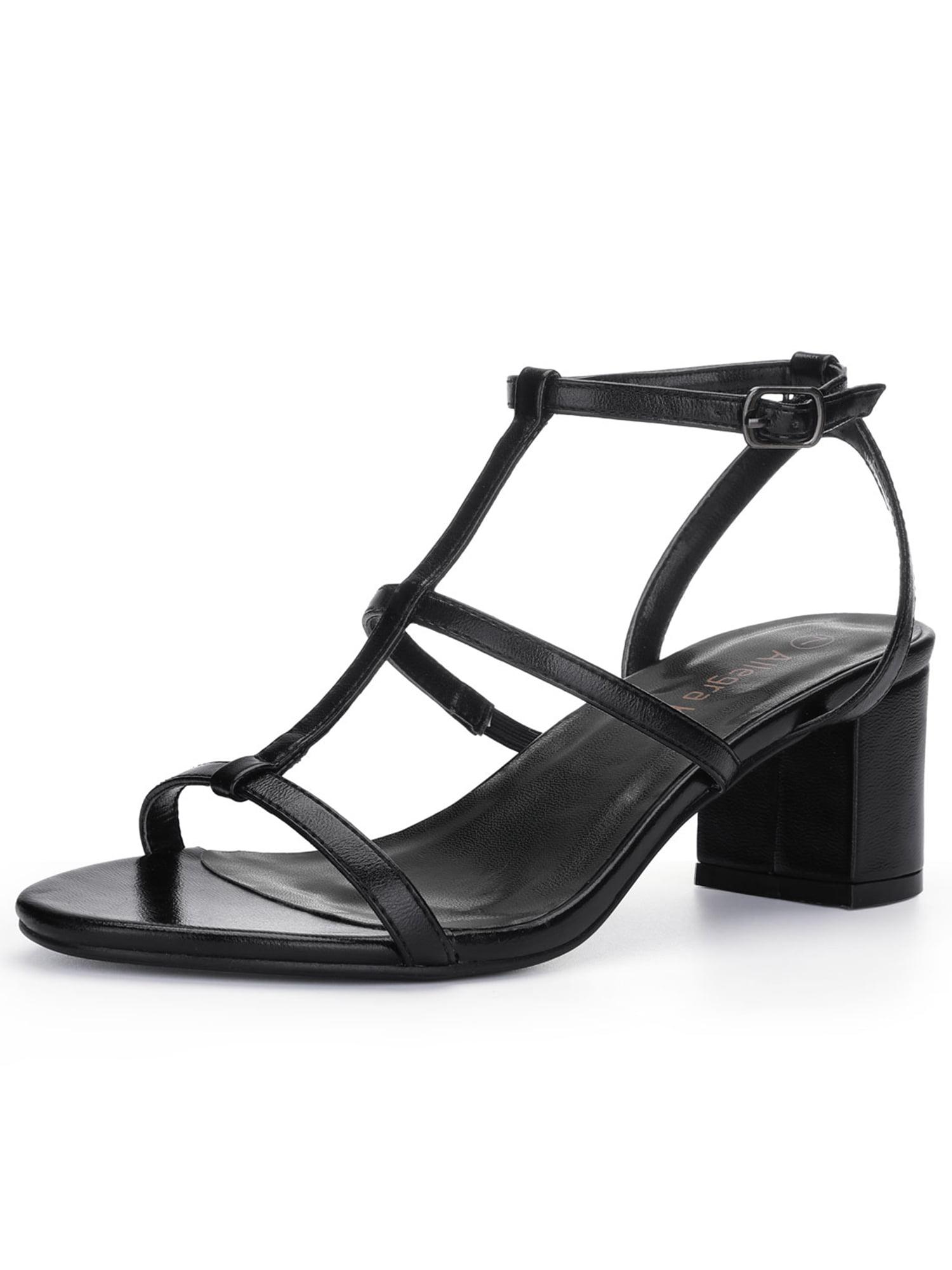 Unique Bargains Women s Cutout Mid Block Heel T-Strap Sandals Black 568b09649