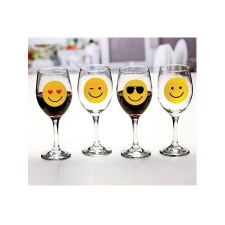 Circleware Emoji Wine Glasses - Smile Face Tumbler Collection with Happy, Winking, Cool, Love - Set of 4 - 13 Ounce Ea.
