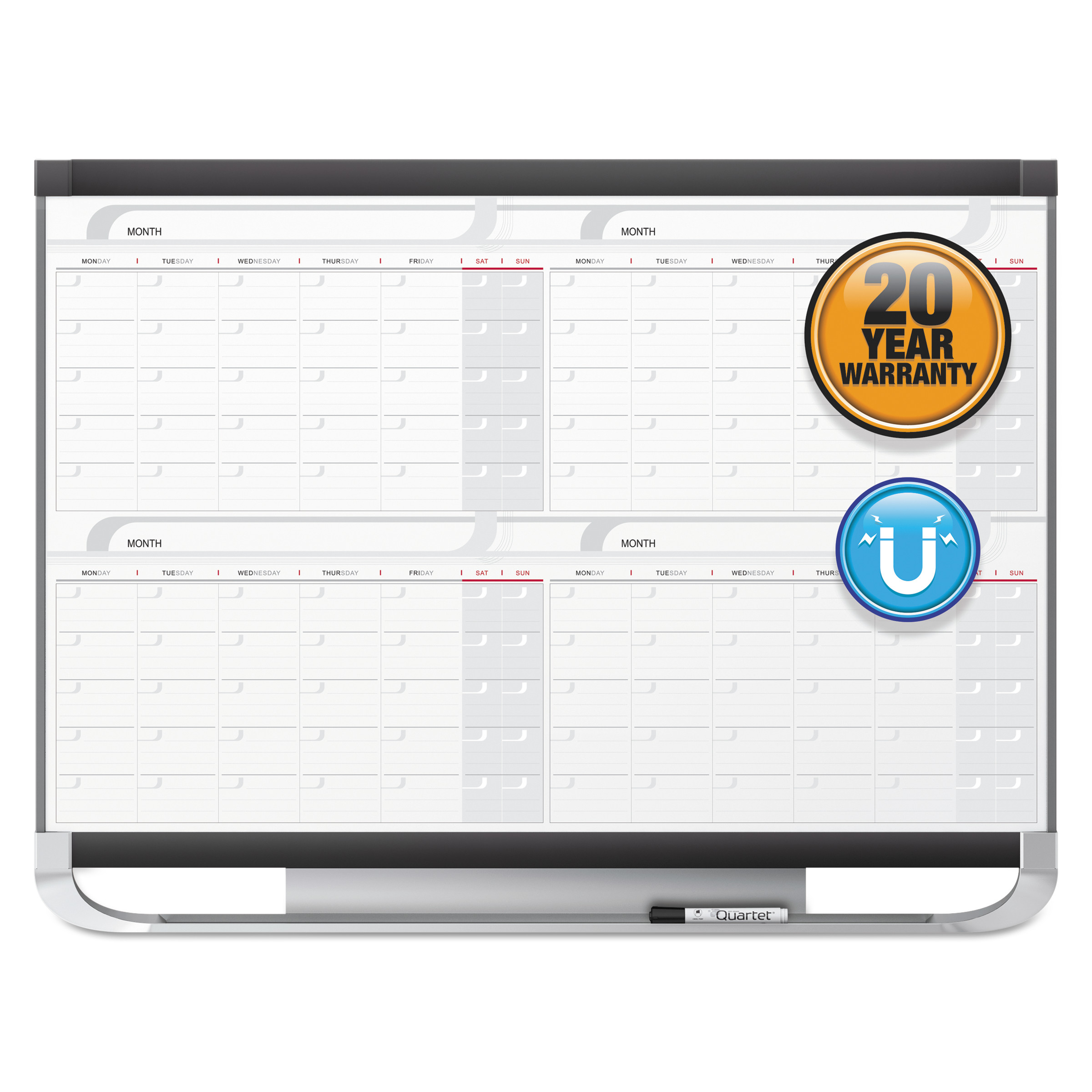 Quartet Prestige 2 Magnetic Total Erase 4-Month Calendar, 36 x 24, Graphite Color Frame -QRT4MCP23P2
