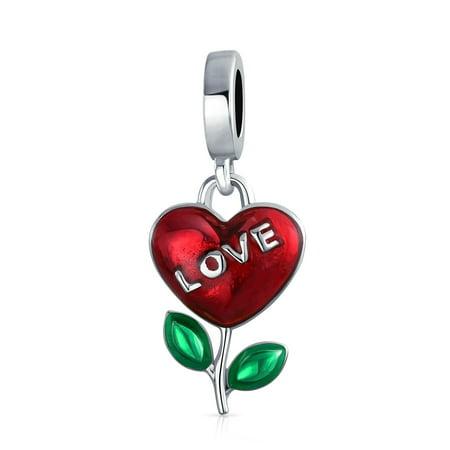 Love Grows Flower Plant Red Heart Dangle Charm Bead For Women Girlfriend 925 Sterling Silver Fits European Bracelet