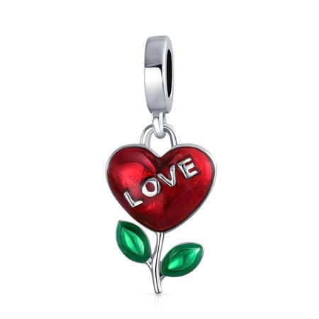 Heart Dangle Phone Charm - Love Grows Flower Plant Red Heart Dangle Charm Bead For Women Girlfriend 925 Sterling Silver Fits European Bracelet