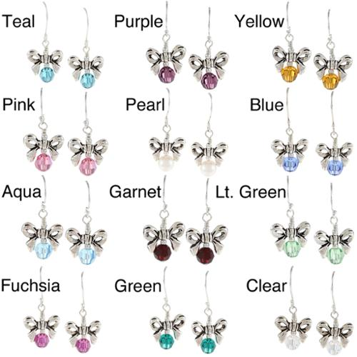 Charming Life Sterling Silver Crystal or Pearl Birthstone Bow Earrings Fuchsia crystal