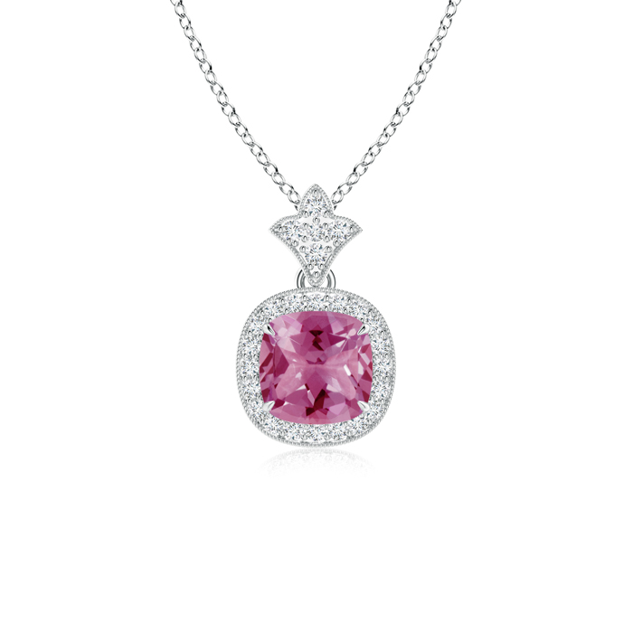 Mother's Day Jewelry Necklace Claw Set Pink Tourmaline Diamond Pendant with Milgrain Detailing in 950 Platinum (6mm Pink... by Angara.com