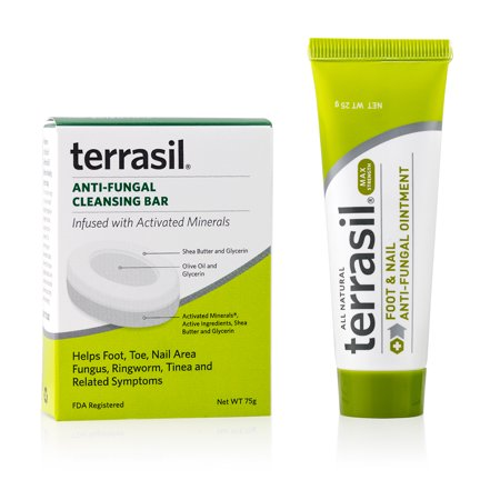 Terrasil® Athlete's Foot & Nail Fungus Treatment 2-Product Ointment MAX Strength and Antifungal Cleansing Bar with All-Natural Activated Minerals® 6X Faster (25gm tube + 75gm