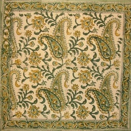 "Rajasthan Paisley Block Print Cotton Table Napkin 18"" x 18"" Green"
