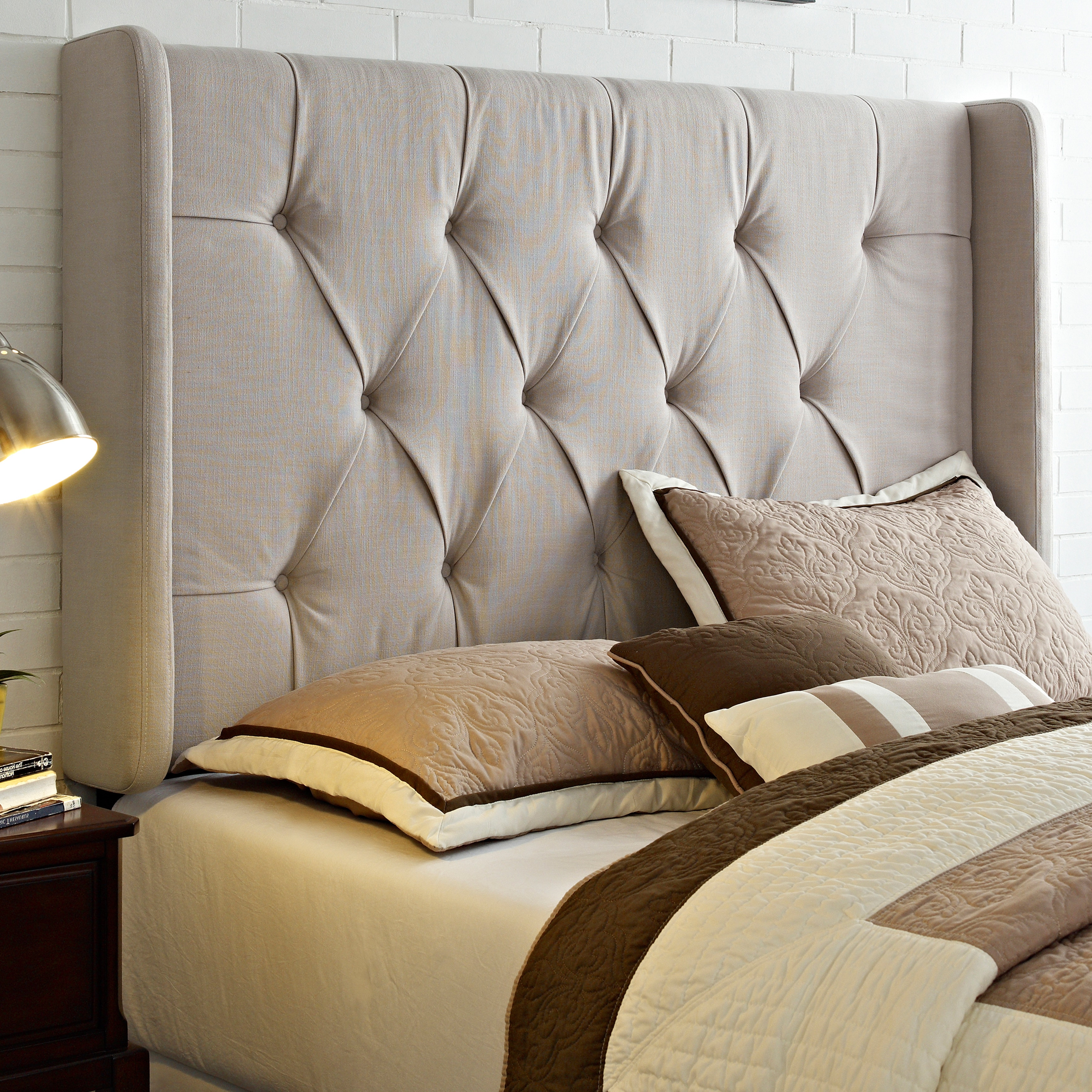 Sofaweb.com Wingback Tufted Ivory King/California King Size Upholstered  Headboard. Write A Review
