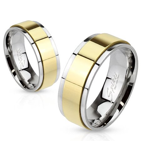 Spinner Gold IP Two Toned Stainless Steel Ring 6mm Band (SIZE: 5) ()