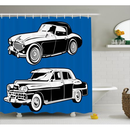 Cars Shower Curtain Black And White Vintage On Navy Blue Backdrop Classic Old Vehicles