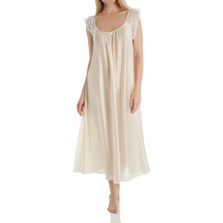 Women's Amanda Rich 105-SH Lace Cap Ankle Length Gown Amanda Knee Length Nightgown