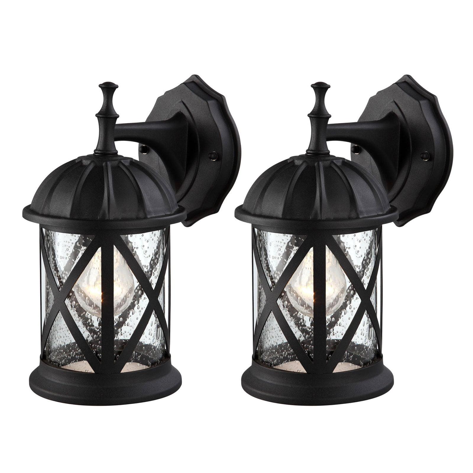 Outdoor Exterior Wall Lantern Light Fixture Sconce Twin Pack Matte Black With Seeded Glass Walmart Com Walmart Com