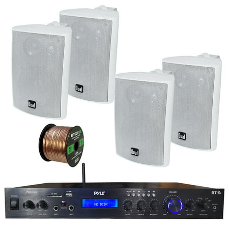 Pyle Home Theater Amplifier Audio Bluetooth Mp3 Usb Sd Aux Fm Black Receiver Sound System  With 4X Dual 100 Watt 3 Way Indoor Outdoor Studio White Speakers  Enrock Audio 16 Gauge 50 Foot Speaker Wire