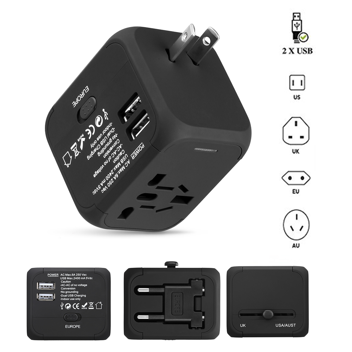 FLOUREON International Travel Power Adapter with 2.4A Dual USB charr and Universal AC Wall Outlet Plugs All-in-One for US, UK, AU, Europe & Asia