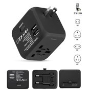 FLOUREON International Travel Power Adapter with 2.4A Dual USB charr and Universal AC Wall Outlet