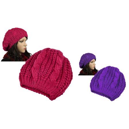 Zodaca 2 Piece Set Unisex Womens Mens Winter Warm Knit Beret Hat Beanie Crochet Ski Baggy Ball Cap Hat (Red+Purple)