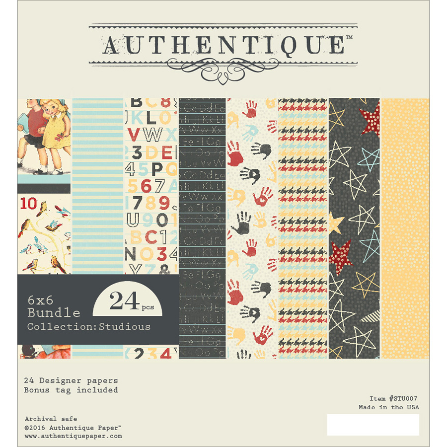 "Authentique Double-Sided Cardstock Pad, 6"" x 6"", 24pk, Studious One, 12 Designs/2 Each"