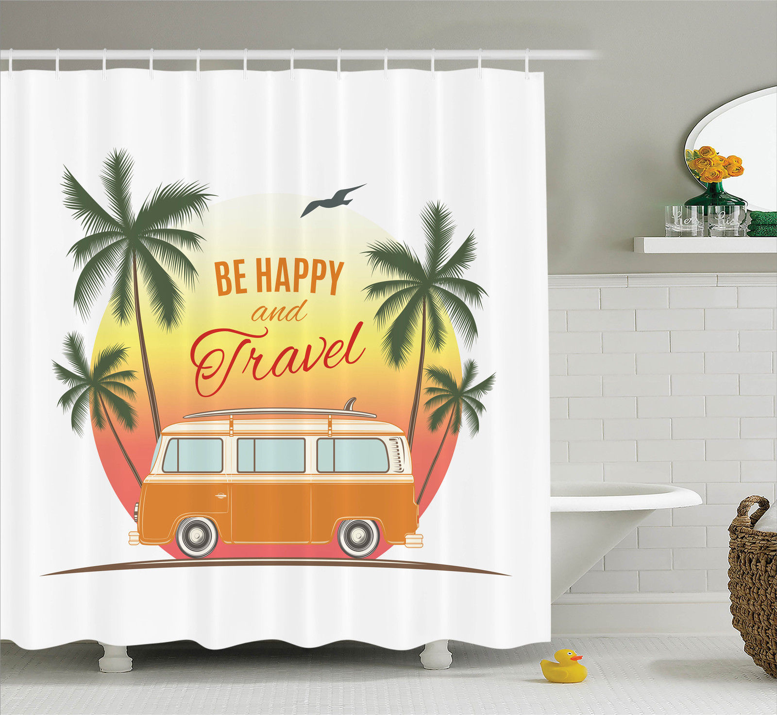 Surf Decor  Retro Surf Van With Palms Camping Relax Hippie Travel Be Happy Free Sixties Theme, Bathroom Accessories, 69W X 84L Inches Extra Long, By Ambesonne