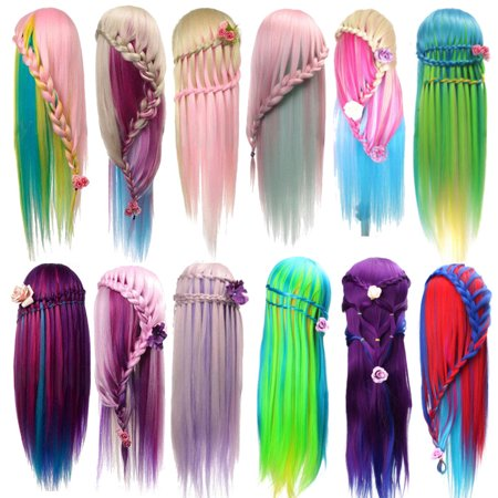 LuckyFine Colorful Mannequin Head Salon with Human Hair, Cosmetology Training Head Doll for Practice Free Stand holder