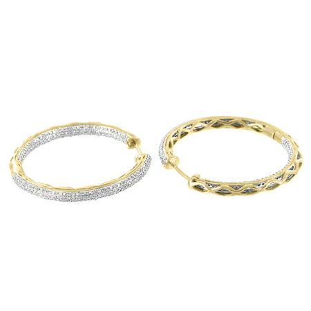 Womens Hoop Design Earrings 14k Yellow Gold 1.50 Carat Real Diamonds 33mm Ladies