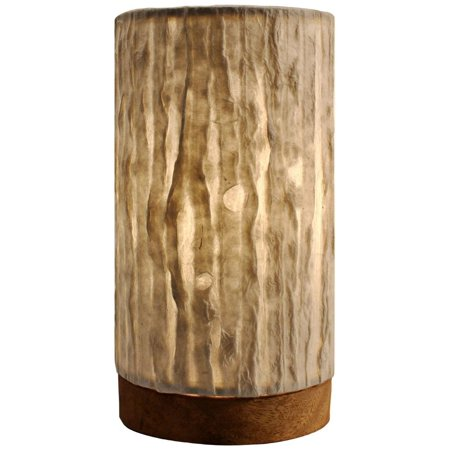 Eangee Home Designs Paper Cylinder Lines Natural Layered Leaves Table Lamp](Rice Paper Lamp)