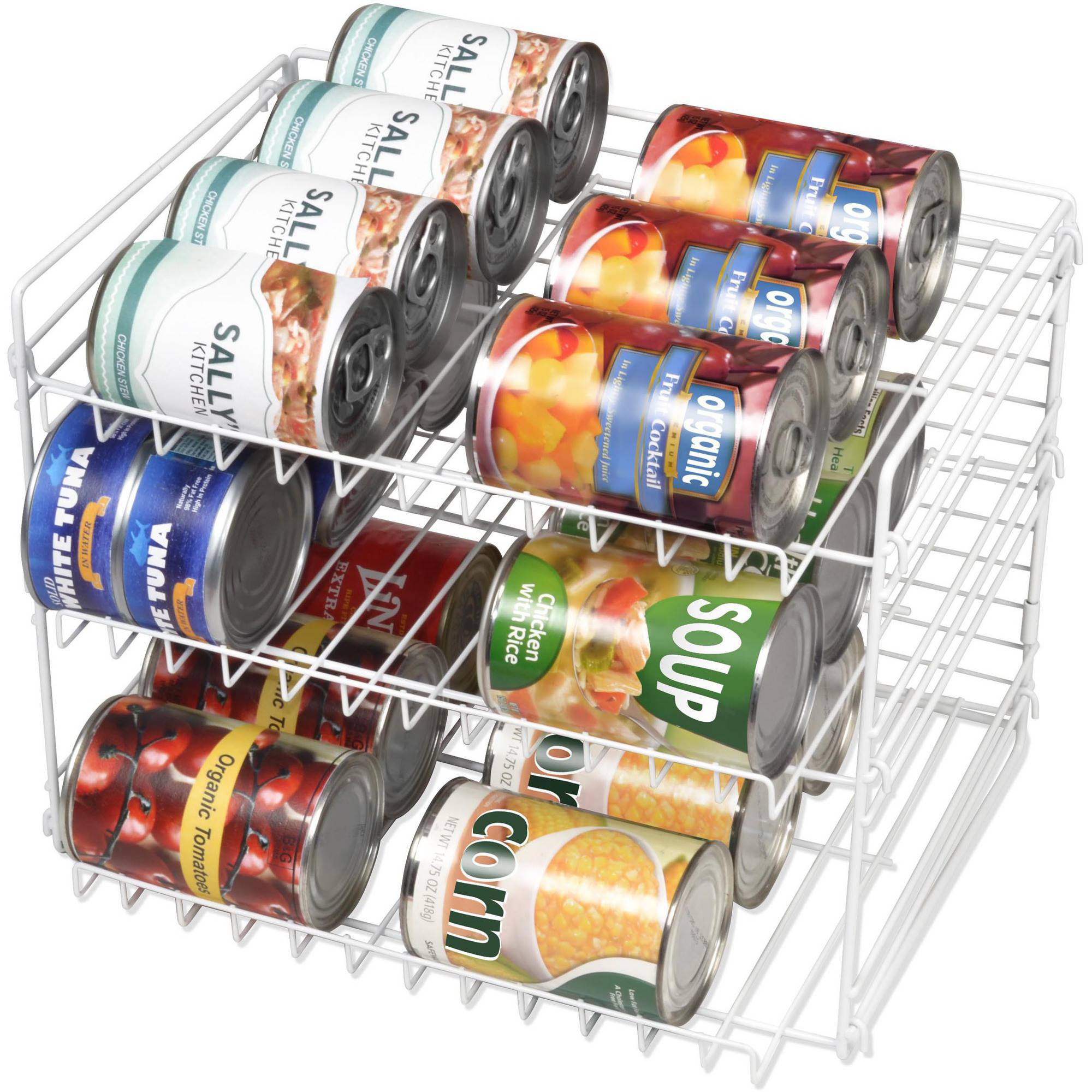 Mainstays 3-Tier Can Rack, White