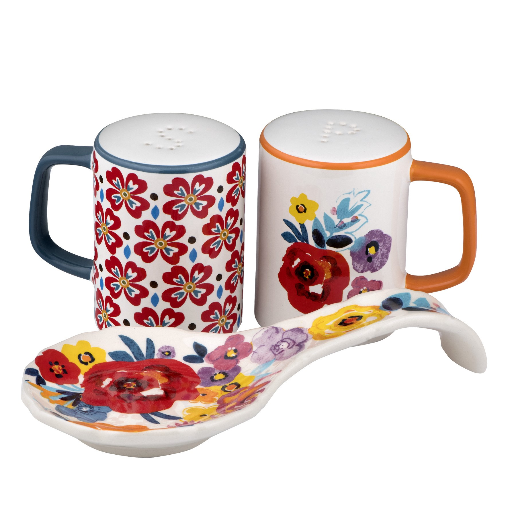 The Pioneer Woman Flea Market Floral Spoon Rest & Salt & Pepper Shakers 3 PC, 3.0 PIECE(S) by Gibson Overseas Inc