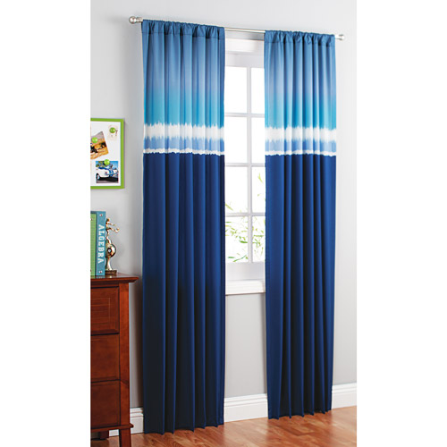 your zone printed microfiber window curtains, blue tie dye, set of 2