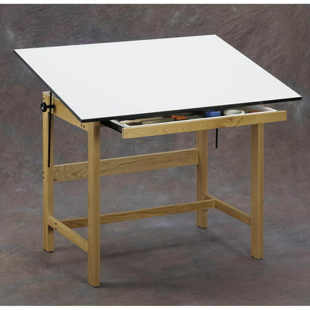 Alvin Solid Oak Drafting Table Natural Finish 37 1/2